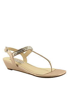 Touch Ups Beige (Shimmer Thong Wedge Sandals with Crystal Straps)