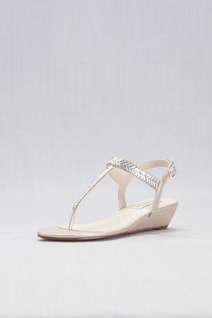 Touch Ups Beige;Grey (Shimmer Thong Wedge Sandals with Crystal Straps)