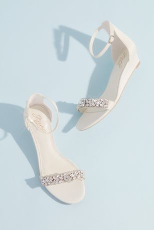 David's Bridal Ivory Wedges (Crystal-Embellished Low Wedge Sandals)