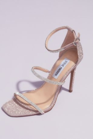 Steve Madden x DB Pink;White Heeled Sandals (Crystal Strap Stiletto Sandals)