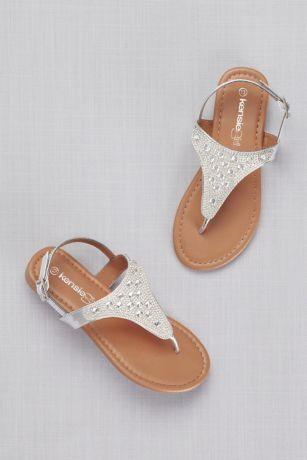 Kensie Girl Grey Flowergirl Shoes (Girls Rhinestone-Embellished Thong Sandals)