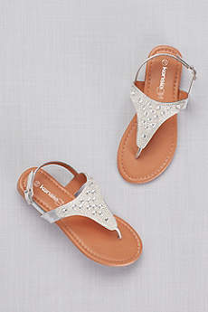 Kensie Girl Grey Flowergirl Shoes (Girls Rhinestone-Embellished Thong Sandals)