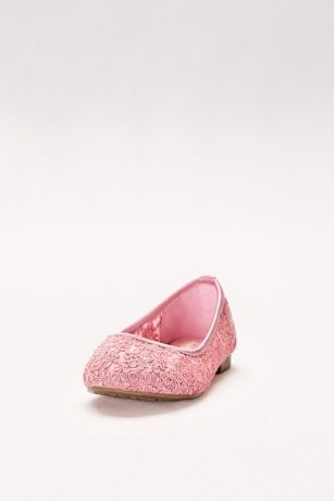 Blossom Pink;Red;White Flowergirl Shoes (Girls Corded Lace Ballet Flats)