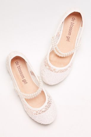 White Flowergirl Shoes (Girls Lace Mary Janes with Pearl Strap)