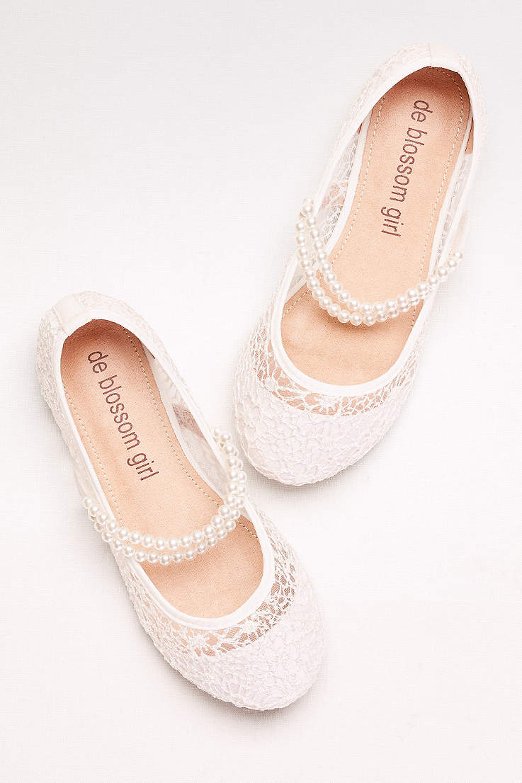 1257ae38e341 Blossom White Flowergirl Shoes (Girls Lace Mary Janes with Pearl Strap)