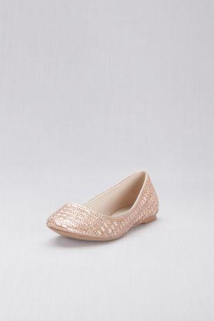 David's Bridal Pink Ballet Flats (Crystal Embellished Round-Toe Flats)
