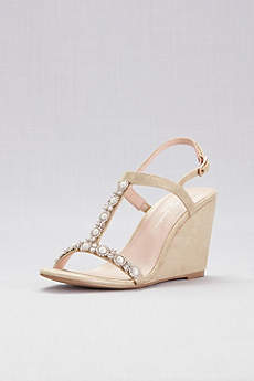 Pink Paradox Grey Peep Toe Shoes (Pearl T-Strap Metallic Shimmer Wedges)