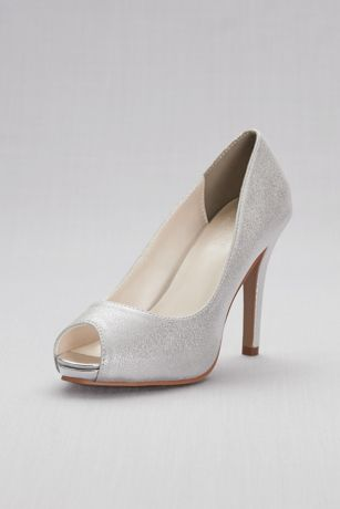 David's Bridal Grey Pumps (Shimmer Peep-Toe Platform Pumps)