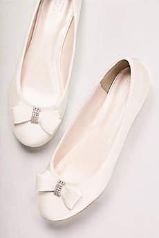 David S Bridal Ivory Ballet Flats Crystal Bow Satin