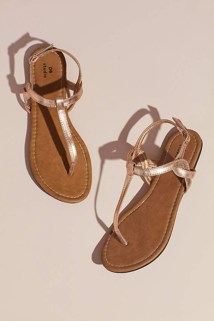 427ecb2703 David's Bridal Beige;Grey;Pink;Yellow Flat Sandals (Twisty T-Strap