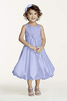 Satin Tank Bubble Dress with Flower Detail