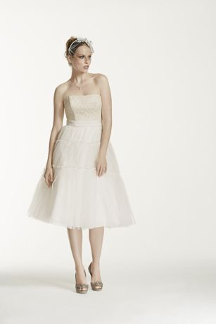 As-Is Strapless Tulle and Lace Tea Length Dress