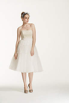 Strapless Tulle and Lace Tea Length Dress