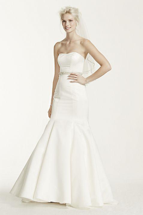 Satin Wedding Dress with Seam Detail | David\'s Bridal