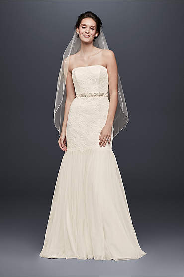 Long, ivory strapless lace trumpet dress with tulle skirt