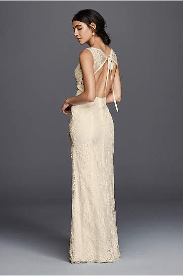 Long, ivory flower lace v-neckline dress with open back
