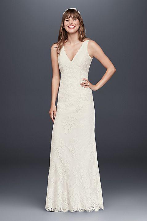 Flower Lace V-Neck Wedding Dress with Empire Waist | David\'s Bridal