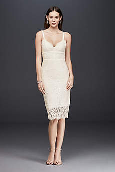 Triangle-Top Lace Midi Sheath Dress