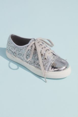 Blossom Grey Sneakers and Casual (Girls Glitter Lace Up Metallic Toe Cap Sneakers)