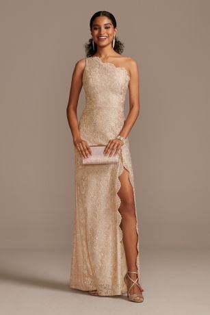 One Shoulder Scalloped Edge Lace Gown with Slit
