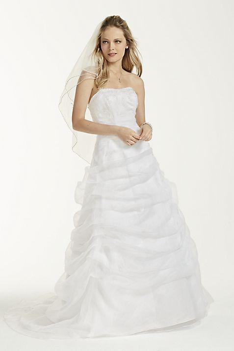 Organza Draped Wedding Dress with Beaded Lace | David\'s Bridal
