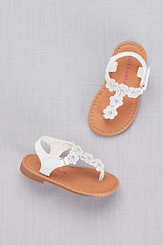 Laura Ashley Grey Flowergirl Shoes (Toddlers Floral Thong Sandals)