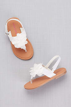 Laura Ashley White (Toddlers Flower Petal Thong Sandals)