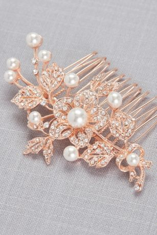 Pave Crystal and Pearl Comb