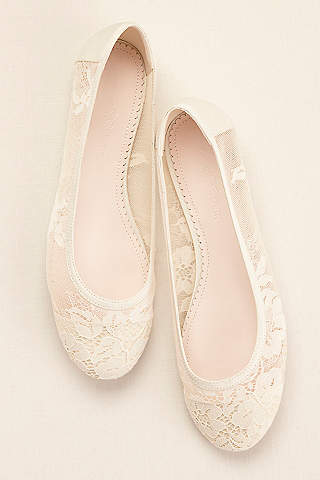 Ivory wedding bridal shoes flats heels davids bridal melissa sweet ivory ballet flats melissa sweet lace ballet flat junglespirit Image collections