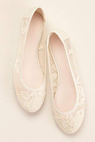 Melissa Sweet Ivory Ballet Flats Lace Flat