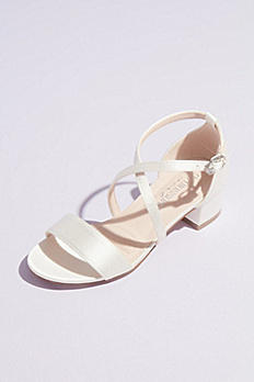 Girls Block Heel Sandals with Crossing Vamp Straps LANE