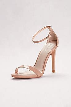 David's Bridal Beige Peep Toe Shoes (Patent High Heel Sandals with Ankle Strap)