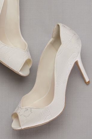 David's Bridal Ivory Pumps (Lace Peep Toe Pump)