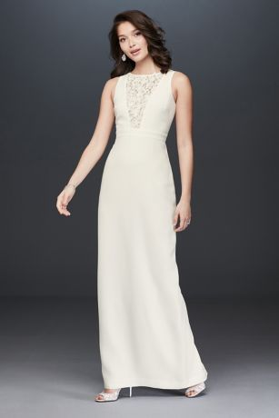 Plunging Illusion Lace Sheath Gown with Flowers