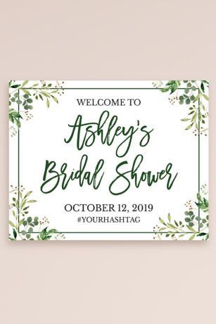 Greenery Personalized Bridal Shower Welcome Sign
