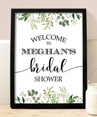 Greenery Personalized Name Bridal Shower Sign