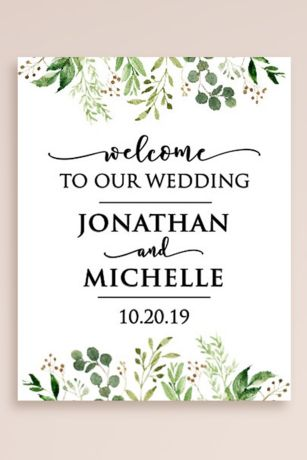 Greenery Personalized Wedding Welcome Sign