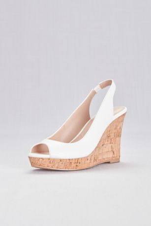 Charles By Charles David White Wedges (Peep-Toe Slingback Cork Wedge Sandals)