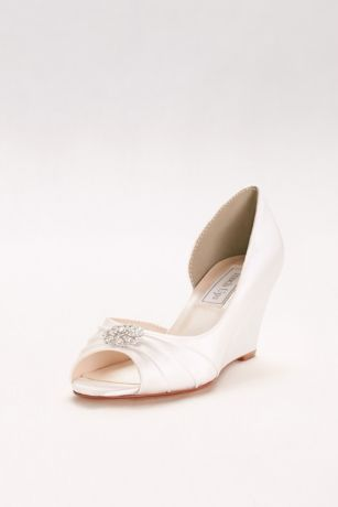 "Touch Ups White (Dyeable D""Orsay Wedges with Crystal Accents)"