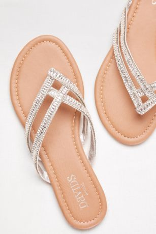 David's Bridal Grey Flat Sandals (Embellished Double-Strap Flip Flops)