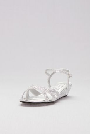 Touch Ups Grey;Ivory (Glitter Mini-Wedge Sandals with Woven Straps)