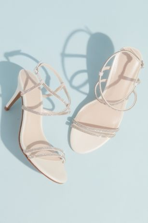 David's Bridal White Heeled Sandals (Skinny-Strap Crisscross Glitter Heels)