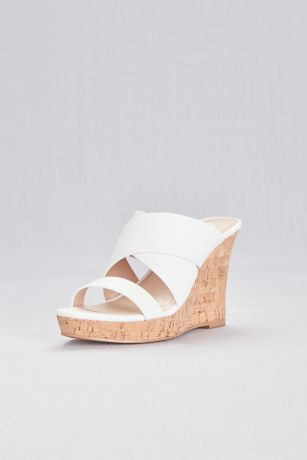 Charles By Charles David White Wedges (Wide Strap Slip-On Cork Wedge Sandals)