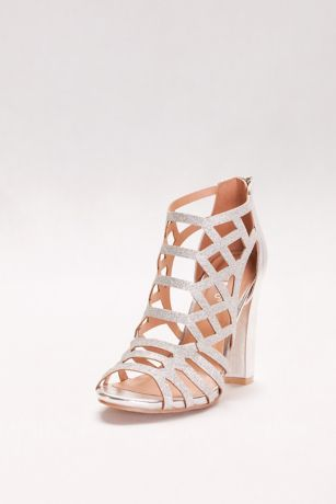 Bamboo Grey Heeled Sandals (Glitter Cage Block Heels)