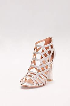 Bamboo Grey Peep Toe Shoes (Glitter Cage Block Heels)