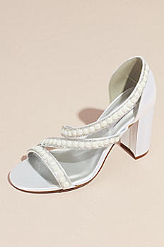 Dyeable Satin Block Heel Sandals with Pearls LINDA