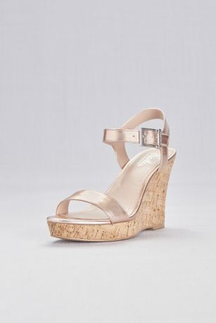 Charles By Charles David Pink Wedges (Metallic Cork Wedge Sandals with Chunky Buckle)