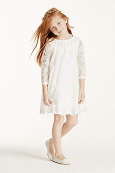 Short A-Line 3/4 Sleeves Communion Dress -