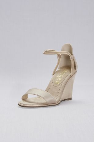 New York Transit Beige Wedges (Satin Wedges with Elastic Ankle Straps)