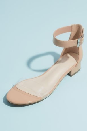 David's Bridal Beige Flat Sandals (Patent Clear Strap Sandals with Adjustable Buckle)